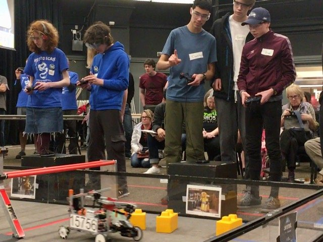 Students at a robotics event