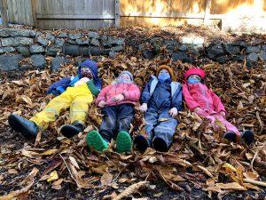 "Kindergarteners on their ""leaf sofa"""