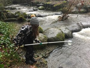 Citizen science student collects water sample