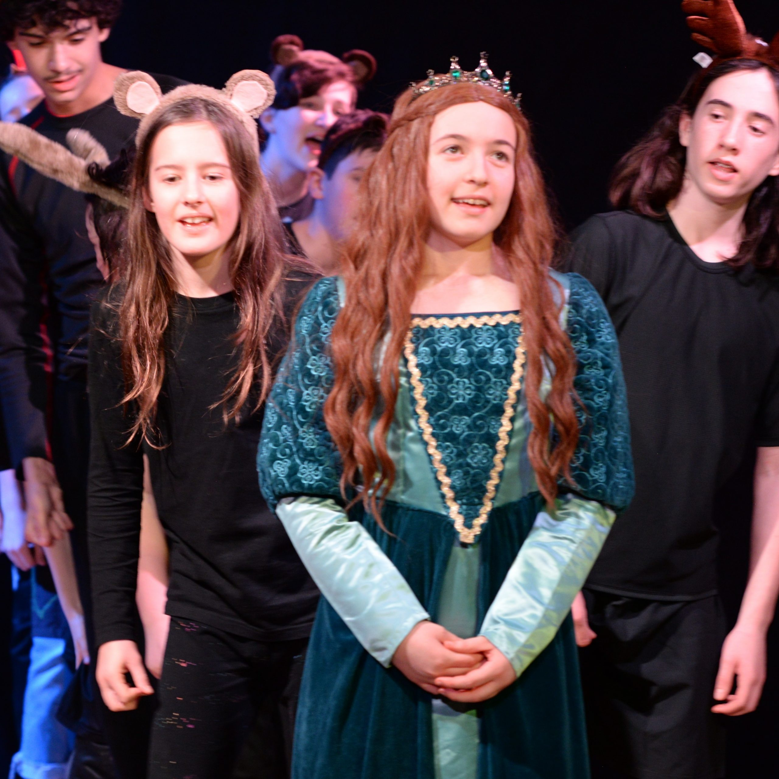 Students performing a play